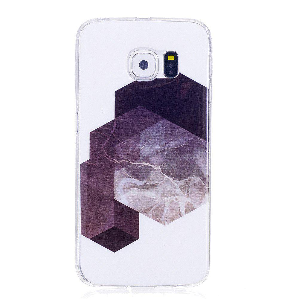 Diamond Lattice Mosaic Fashion Marble Soft TPU Phone Case For Samsung Galaxy S6 - WHITE