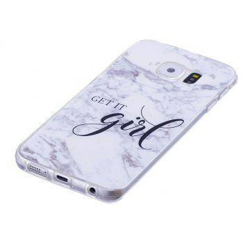 Grey White Mixed Color Characters Marble Soft TPU Case for Samsung Galaxy S6 - WHITE