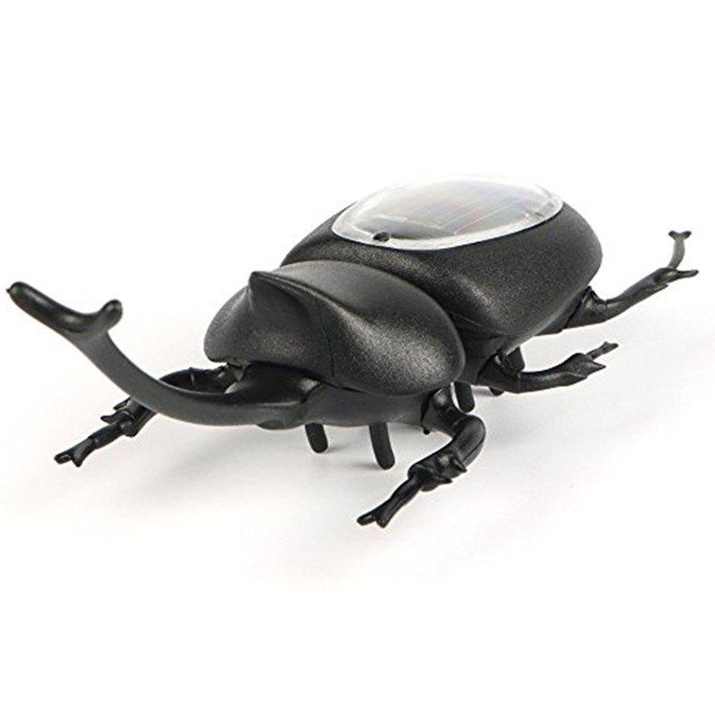 Solar Powered Emulate Beetles Educational Scary Insect Gadget Trick Toy - BLACK