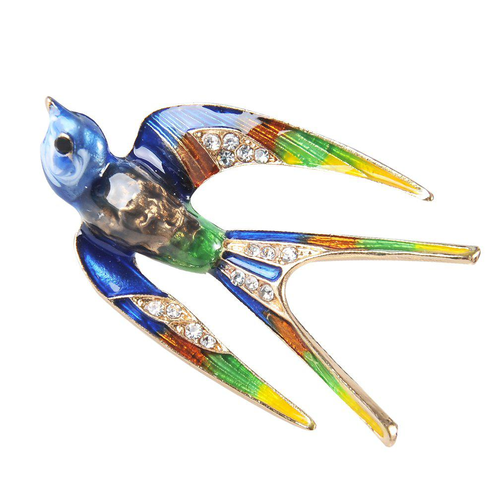 Classic Alloy Enamel Swallow Brooch Pins Banquet Weddings Accessories for Women - ROYAL BLUE