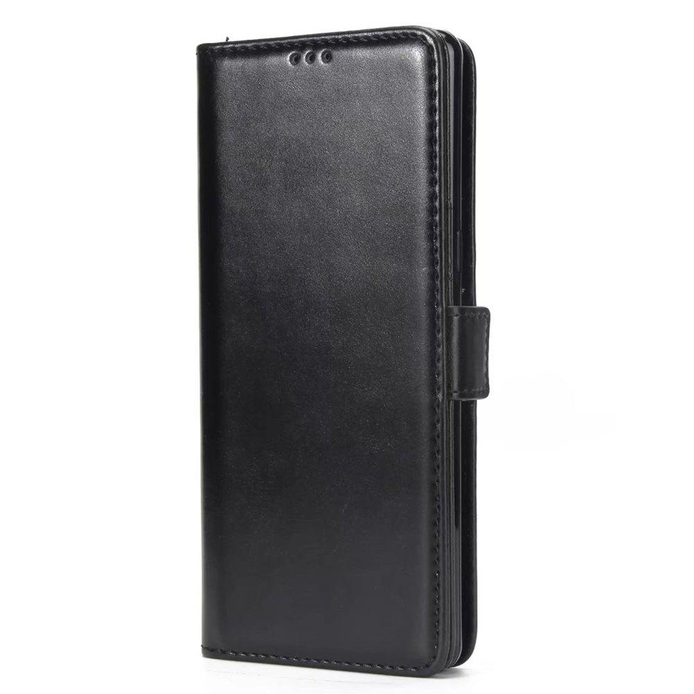 Dual Folding Crazy Horse Leather Wallet Case Cover for Samsung Galaxy Note 8 - BLACK
