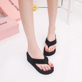 New Summer Cool Contracted Sponge Wedges Leisure Beach Slippers - BLACK 40
