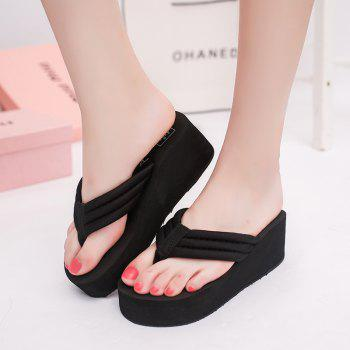 New Summer Cool Contracted Sponge Wedges Leisure Beach Slippers - BLACK 38