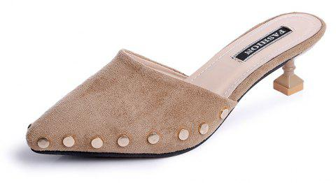 Ms Pointed Fine with Rivet Baotou Fashion Half Slippers - LIGHT KHAKI 39