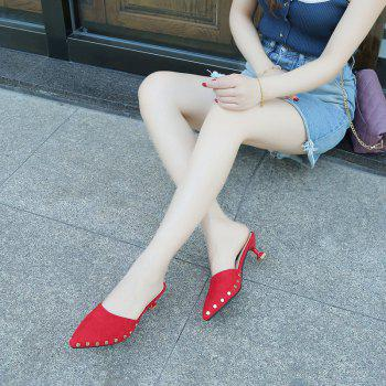 Ms Pointed Fine with Rivet Baotou Fashion Half Slippers - RED 38