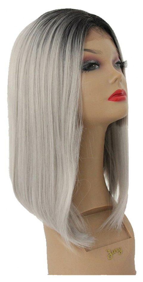 Grey Chemical Fiber Front Lace Wig - PLATINUM 14INCH