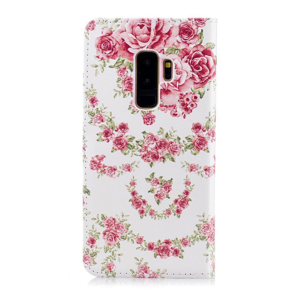 Filp Case for Samsung Galaxy S9 Plus Pink Roses Pattern Wallet Stand Cover - PINK
