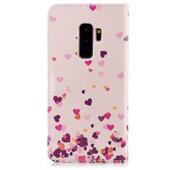 Filp Case for Samsung Galaxy S9 Plus Pink Hearts Pattern Wallet Stand Cover - PINK
