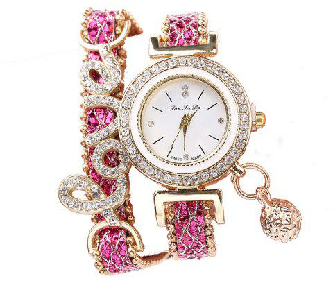Fanteeda FD082 Femmes LOVE Lettres Wrapping Watch - Rouge Rose