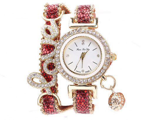 Fanteeda FD082 Femmes LOVE Lettres Wrapping Watch - Rouge