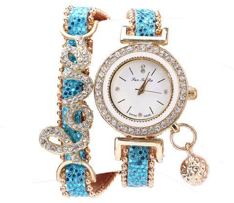 Fanteeda FD082 Women LOVE Letters Wrapping Watch - BLUE DIAMOND