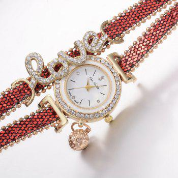 Fanteeda FD082 Women LOVE Letters Wrapping Watch - RED
