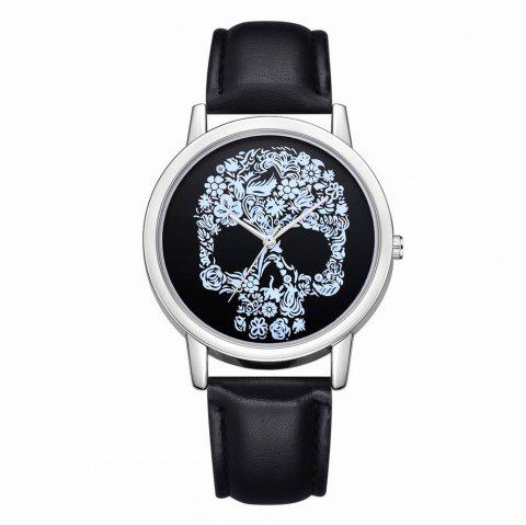 Fanteeda FD110 Women Unique Skull Dial Leather Band Quartz Wrist Watch - BLACK