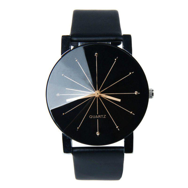 V5 Fashion Men Quartz Round Dial Watch - BLACK