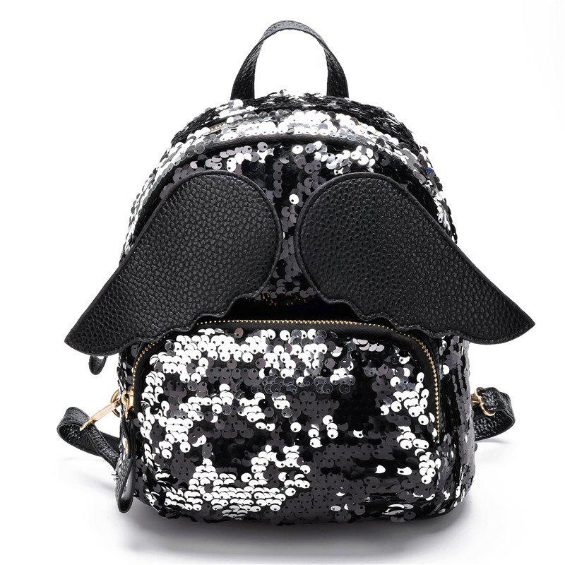 Sequin Backpack Personality Wings Fashion Wild Schoolbag Travel Bag - BLACK
