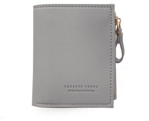 Slim Short Card Short Wallet Zipper Minimalistic Design - DARK GRAY