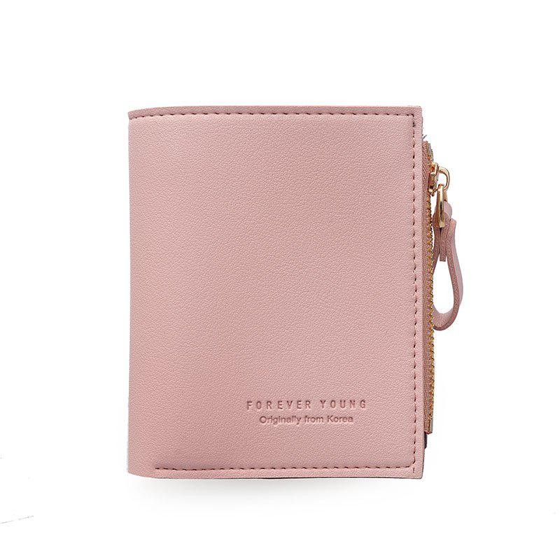 A Slim Eighty Percent Off Short Card Wallet Zipper Short Simple Korean - PINK