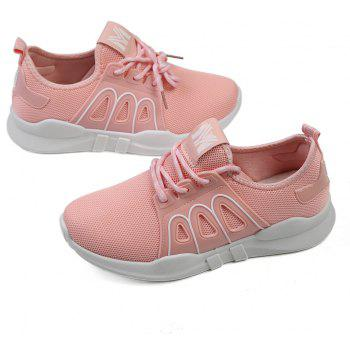 Net Material Lace Up Sneaker Shoes - PINK 39