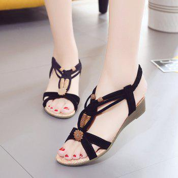Slope with Beaded and Flat Beach Sandals - BLACK 40