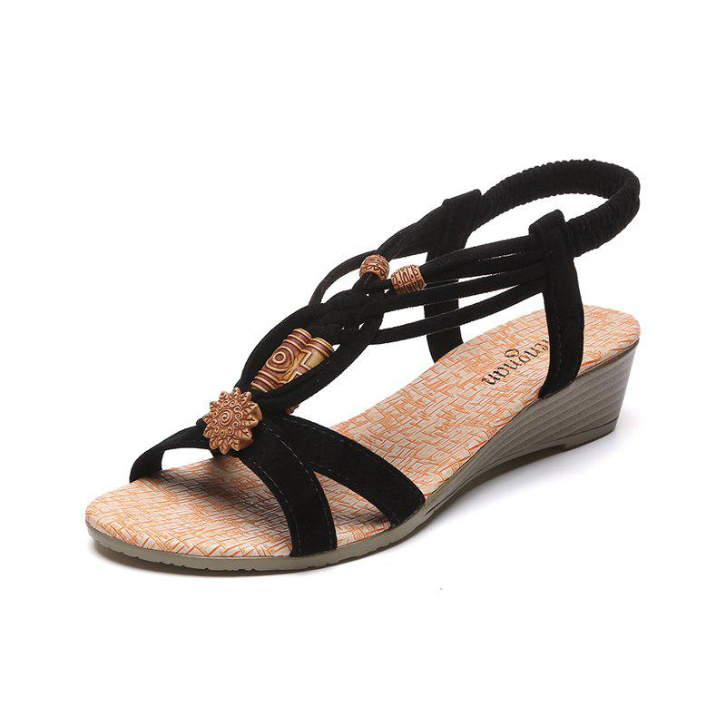 Slope with Beaded and Flat Beach Sandals - BLACK 39