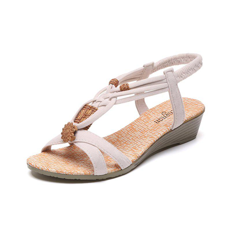 Slope with Beaded and Flat Beach Sandals - BEIGE 39
