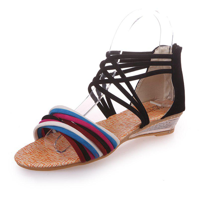 Flat Slope with Zipper Open-Toe Sandals - BLACK 40