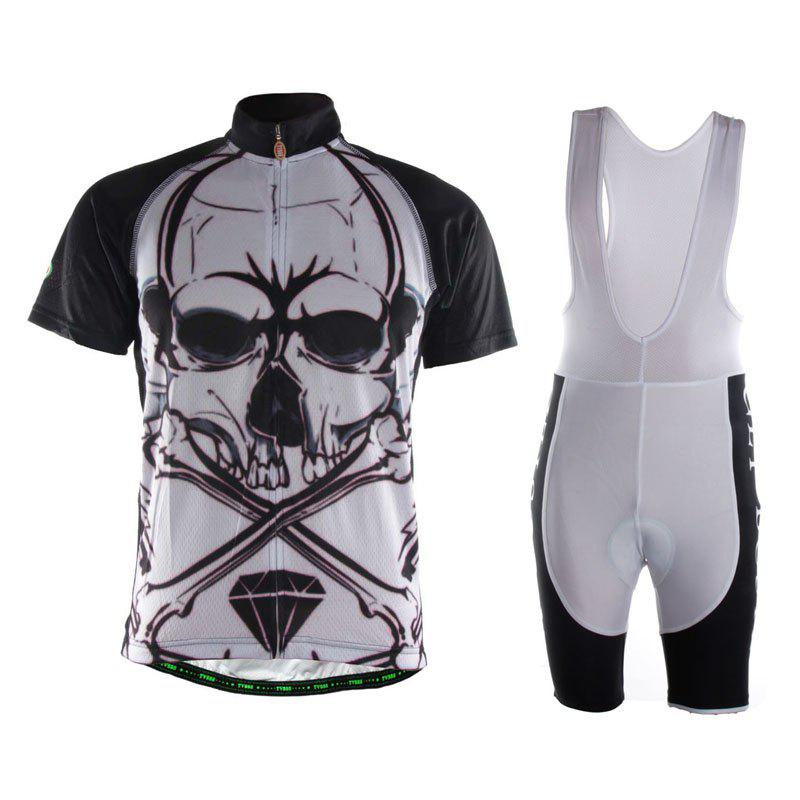 TVSSS Men Short Sleeve Summer Comfortable Fabric Skull pattern Bike Jersey Clothing Suit 6pcs full set 2017 pro team sky color cycling jersey short sleeve summer bike clothing mtb ropa ciclismo bicycle maillot 3d pad