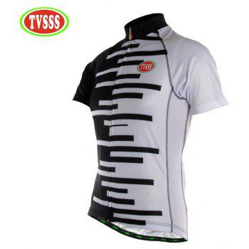 TVSSS Men Black and White Striped Summer Short-Sleeved Cycling Jersey Sportswear - multicolor L