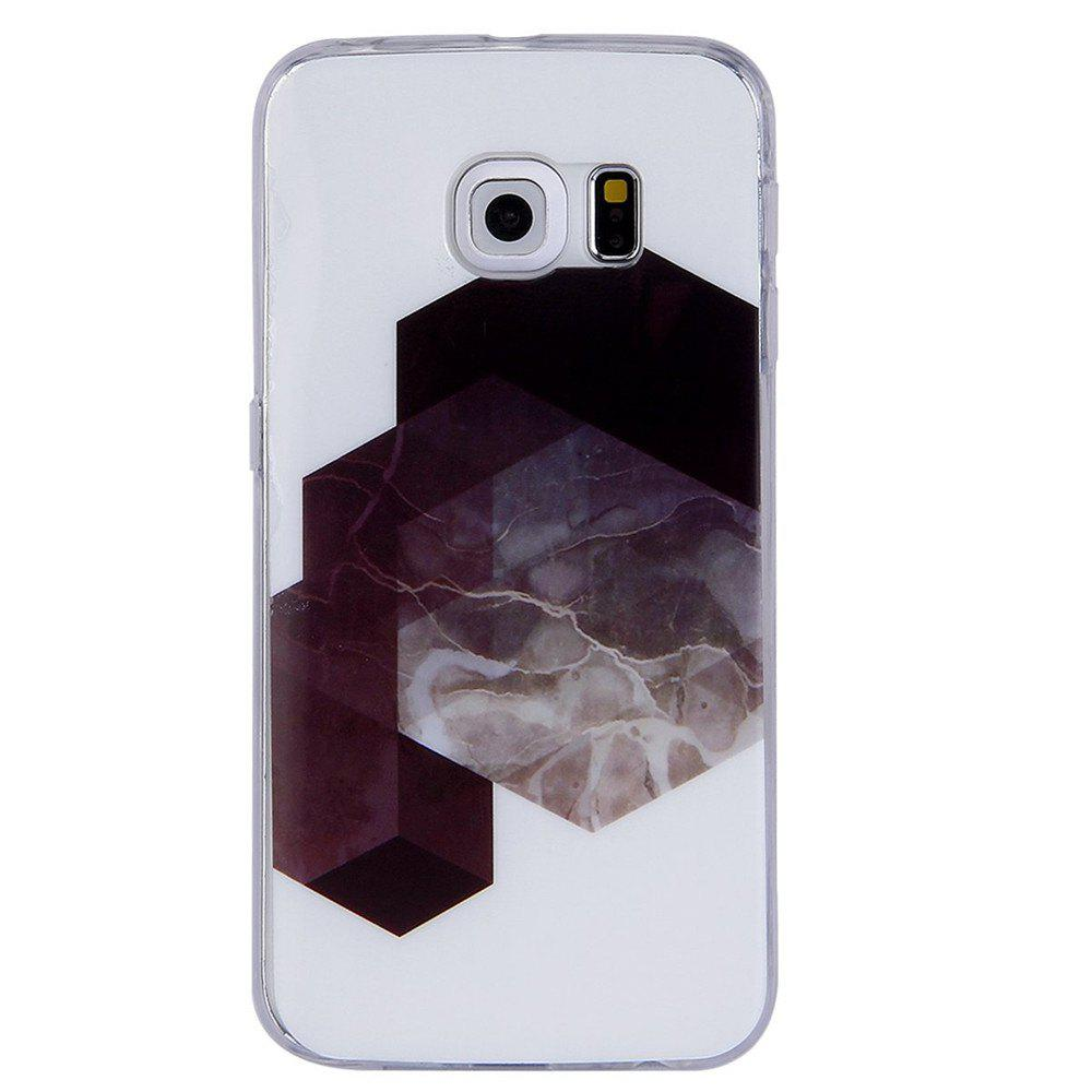 Diamond Lattice Mosaic Fashion Marble Soft TPU  Case For Samsung Galaxy S6 Edge - WHITE