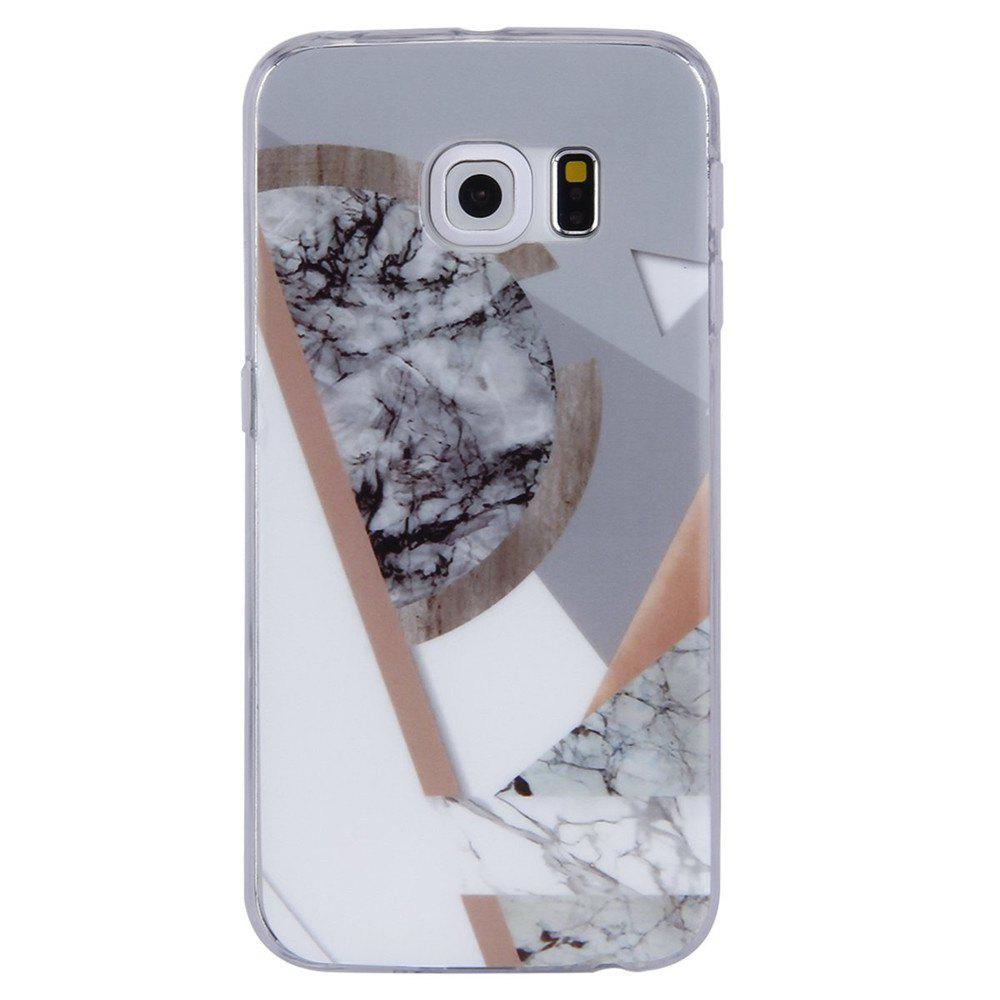 Ultra Thin Mosaic Fashion Marble Soft TPU Case for Samsung Galaxy S6 Edge - WHITE