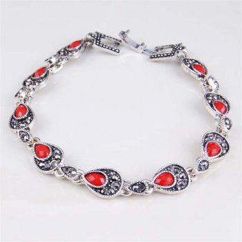 Fashion Diamond Faceted Droplet Colored Gem Bracelet Woman - RED