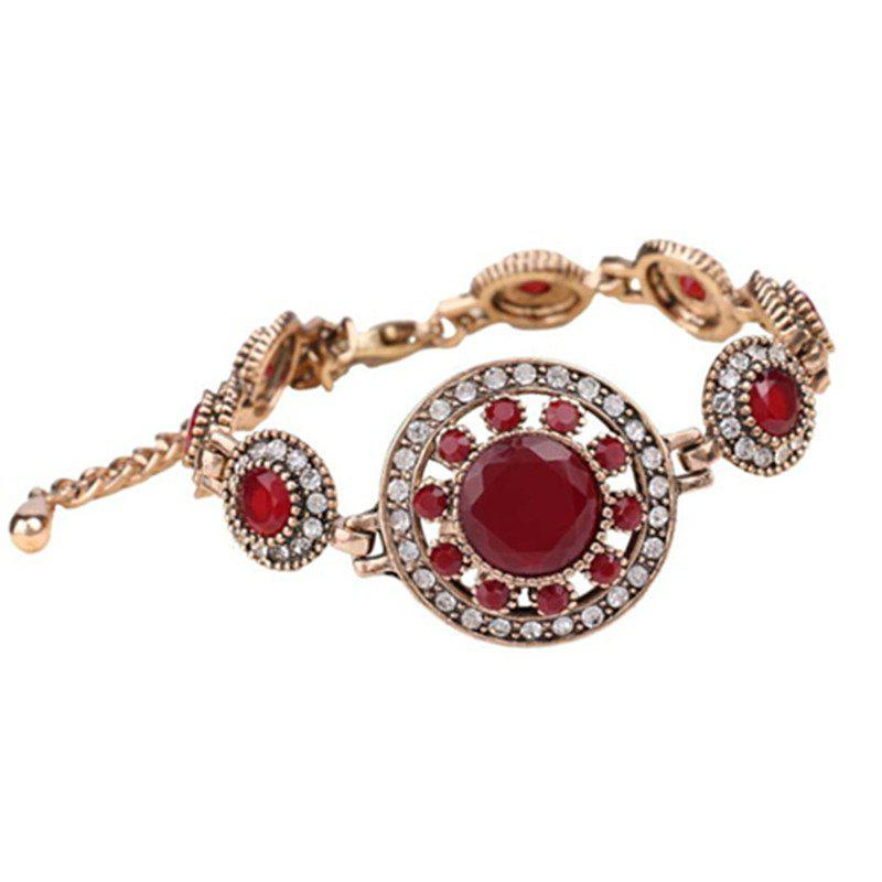 Fashion Diamond Faceted Round Flower Ruby Adjustable Bracelet Woman - RED
