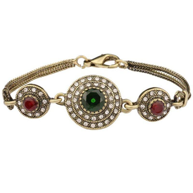 Fashion Diamond Emerald Glass Crystal Gem Bracelet Woman - multicolor A