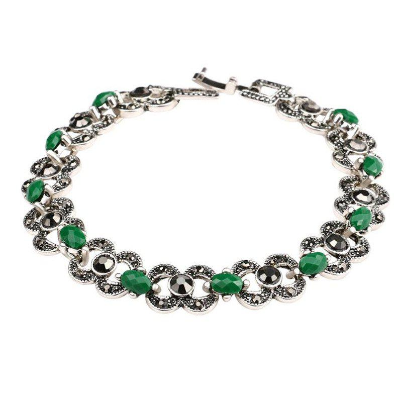 Fashion Exquisite Hollow Diamond Emerald Alloy Bracelet Woman - GREEN