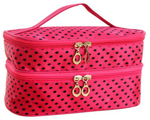 Double Round Cosmetic Bag - NEON PINK