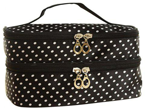 Double Round Cosmetic Bag - BLACK