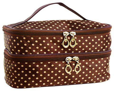 Double Round Cosmetic Bag - COFFEE