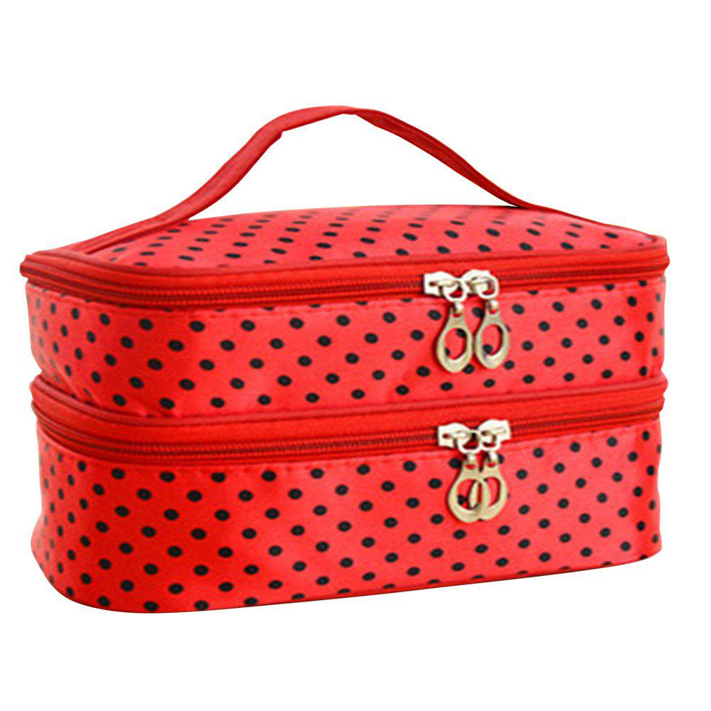 Double Round Cosmetic Bag - FERRARI RED