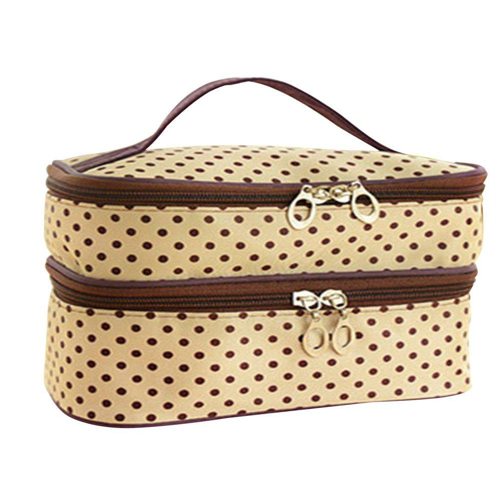 Double Round Cosmetic Bag - BLANCHED ALMOND