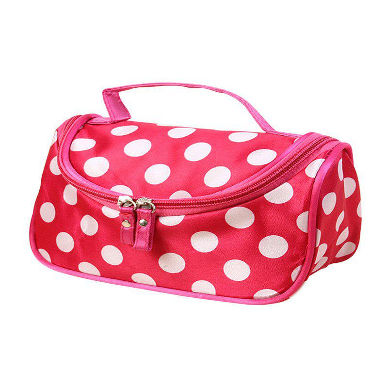 Large Capacity Side Liquor Flower Color Cosmetic Bag - ROSE RED