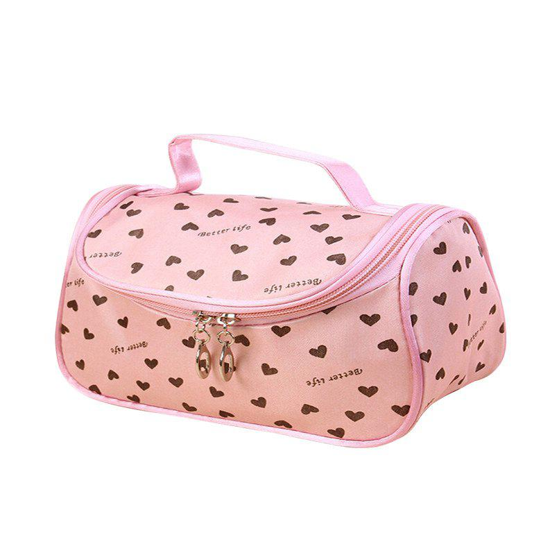 Large Capacity Side Liquor Flower Color Cosmetic Bag - LIGHT PINK