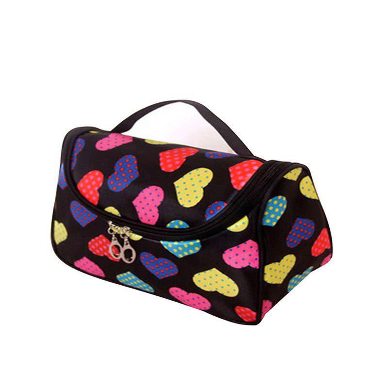 Large Capacity Side Liquor Flower Color Cosmetic Bag - CHARCOAL