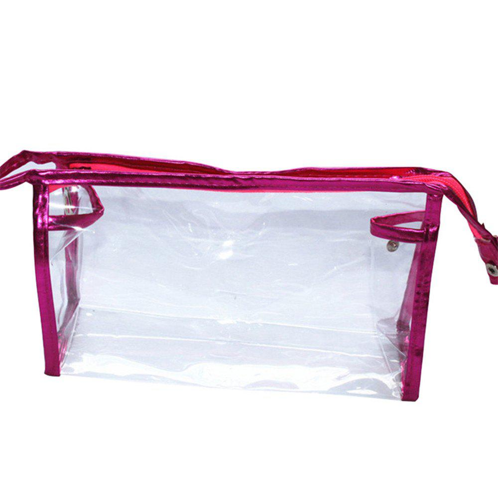 Fashion Transparent Large Capacity PVC Makeup Storage Bag - ROSE RED
