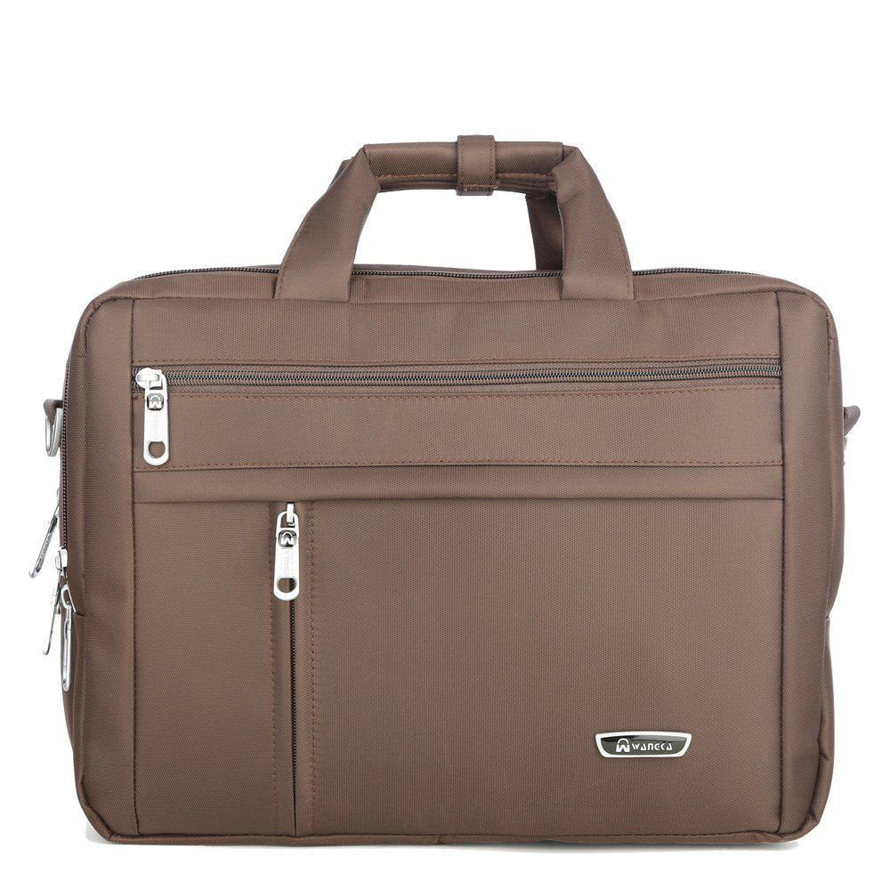 WANGKA Men'S Business Simple Multifunction Computer Bag - COFFEE HORIZONTAL