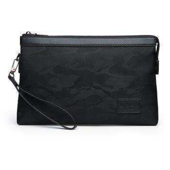 Clutch Canvas Hand  Bag Camouflage - BLACK