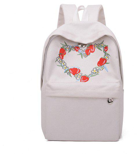 81456d883d07 2019 Small Fresh Embroidered Canvas Backpack In WHITE
