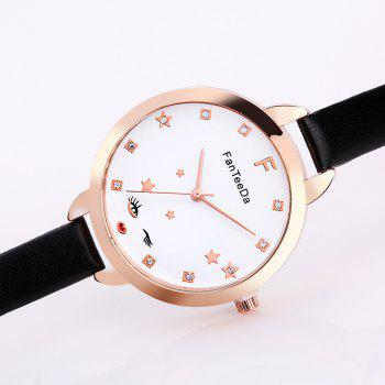 The Star Artificial Diamond Couple Watches - BLACK
