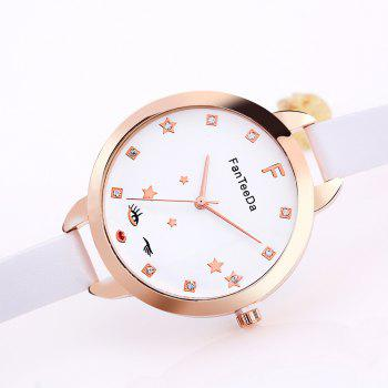 The Star Artificial Diamond Couple Watches - WHITE