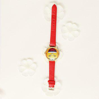 PU Expression Pattern Quartz Cartoon Watch - FIRE ENGINE RED