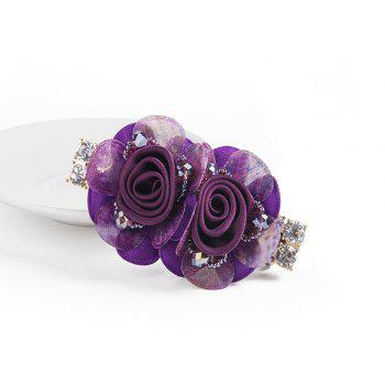 New Stainless Imitated Crystal Flower Spring Clip Nice and Grace - PURPLE